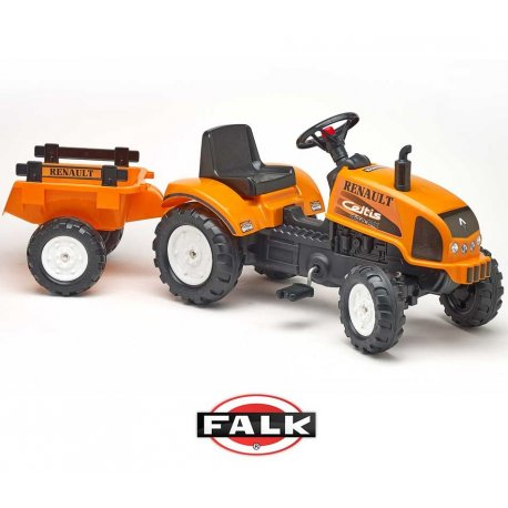 Duży traktorek Renault Celtis 436RX Pomarańczowy z otwieraną maską + Przyczepka