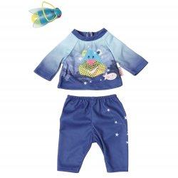 Zestaw ubranek na nocną wyprawę dla lalki Baby Born 43 cm w kolorze niebieskim + latarka