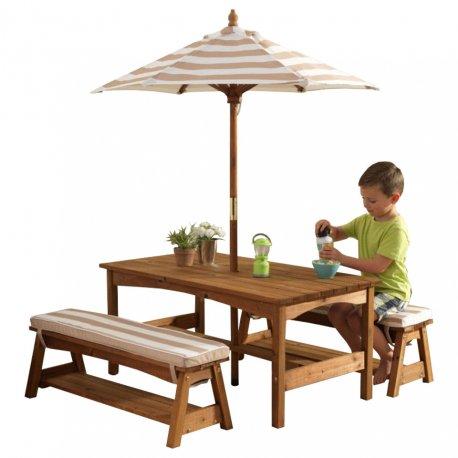 KidKraft Ogrodowy drewniany Stół z ławkami i parasolem