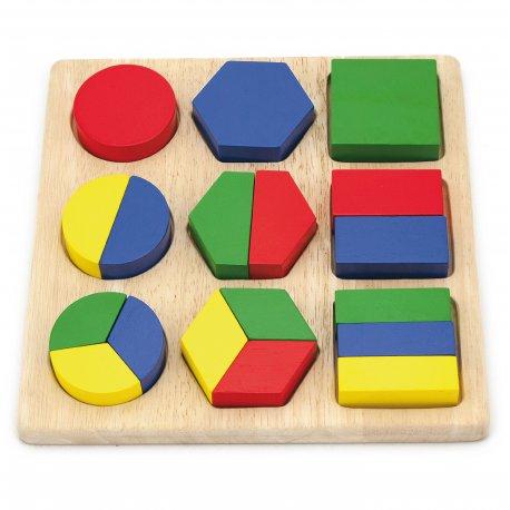 Viga Drewniana Układanka Klocki Figury Geometryczne Kształty 18 Klocków