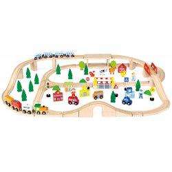 Ogromna Drewniana Kolejka dla dzieci Tor Pociąg 90 elementów Viga Toys