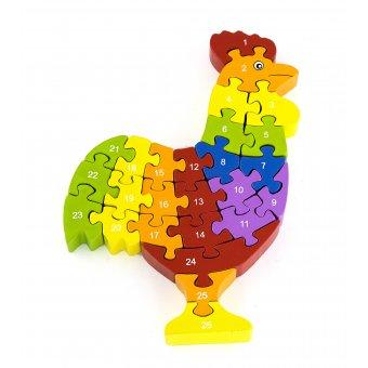 Drewniana Układanka Puzzle Kogucik 3D Alfabet Viga Toys