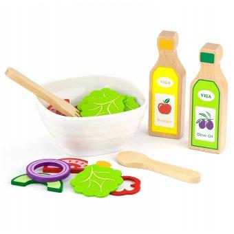 Drewniany Zestaw Sałatkowy Warzywa Sztućce 36 akc. Viga Toys