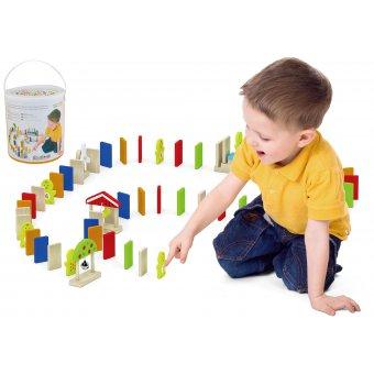 Viga Edukacyjne Klocki Domino Drewniane Zestaw Gra Farma 116 Elementów