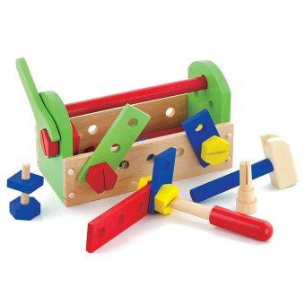 Viga Drewniana Skrzynka z Narzędziami Klocki Konstrukcyjne 24 Elementy