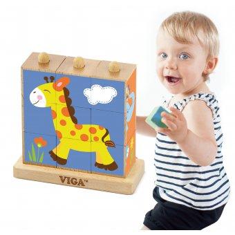 Viga Drewniana układanka Klocki logiczne Puzzle Zoo 9 elementów