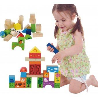 Drewniane klocki Farma Viga Toys zestaw 50 elementów