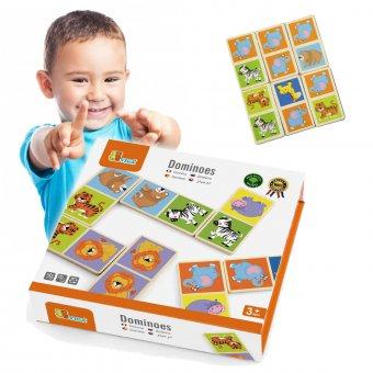 VIGA Edukacyjne Klocki Domino Drewniane Gra Zestaw Zwierzątka 28 Elementów Do Przewracania