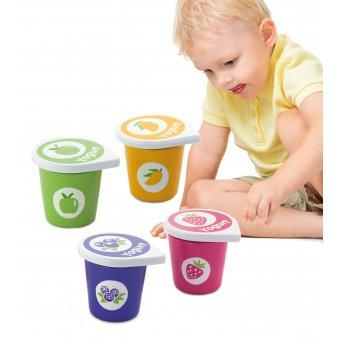 Viga Drewniane Jogurty 4 Pojemniki Na rzepy Zestaw Śniadaniowy