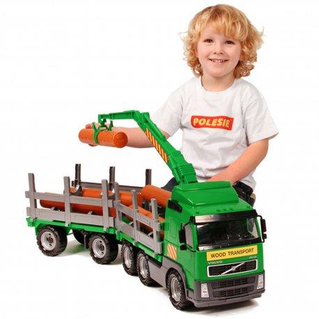 Wader QT Volvo Ogromna Ciężarówka z przyczepą do przewozu drewna 75cm