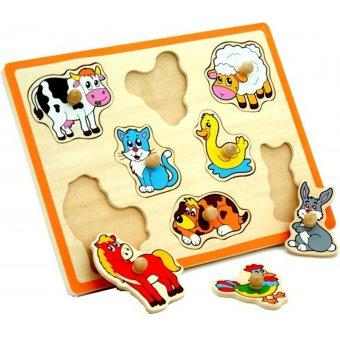 Drewniane Puzzle Zwierzęta z Farmy Układanka Viga Toys