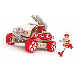 Klocki Konstrukcyjne Wóz Strażacki Samochodzik Dla Dzieci Classic World Drewniany