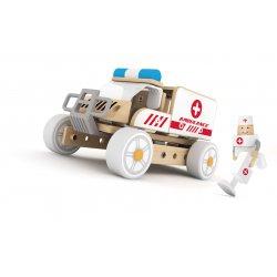 Klocki Konstrukcyjne Radiowóz Policyjny Samochodzik Dla Dzieci Classic World Drewniany