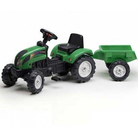 FALK Traktor na pedały RANCH TRAC + Przyczepka Zielony