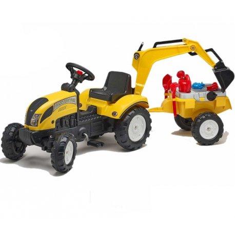 Falk Traktor Koparka Ranch Żółty Z Przyczepą Na Pedały