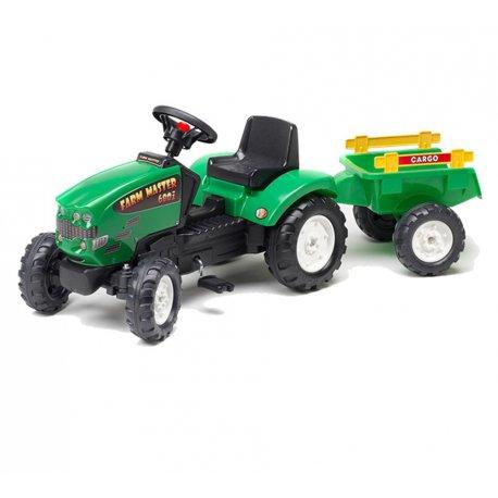 Falk Traktorek na pedały Mustang zielony z Przyczepą