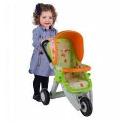Duży wózek spacerówka dla lalek zielono-pomarańczowy Wader QT