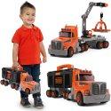 Ciężarówka z Dźwigiem 3w1 Black+Decker Dla Dzieci Narzędzia 60 Akc. Smoby