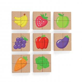 Viga Drewniane Puzzle Magnetyczne Owoce Układanka Certyfikat FSC