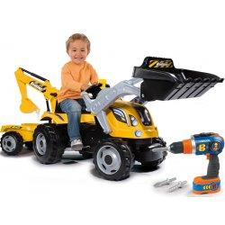 Traktor Na Pedały z Przyczepą Max Dla Dzieci Smoby Koparka + Wkrętarka Bob Budowniczy