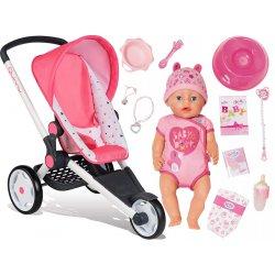 Baby Born Lalka interaktywna 9 funkcji + wózek