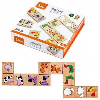 VIGA Edukacyjne Klocki Domino Drewniane Gra Zestaw Zwierzątka 28 Elementów