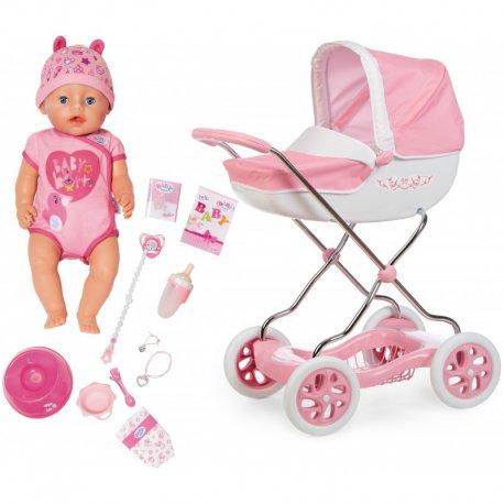 Zestaw Lalka Baby Born Soft Touch 43 cm i Wózek głęboki Smoby Shara
