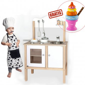 Viga Duża Drewniana kuchnia z akcesoriami + GRATIS Piramidka w ksztalcie lodów owocowych