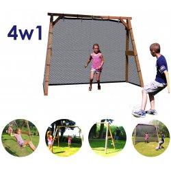 AXI Zestaw Rodzinny 4w1 Drewniany Sportowy Plac Zabaw Family Fun Center