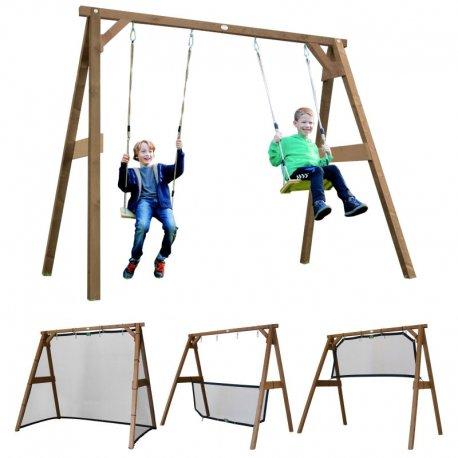 Drewniany Plac zabaw Family Fun zestaw 4w1 Bramka Huśtawka tenis Siatkówka
