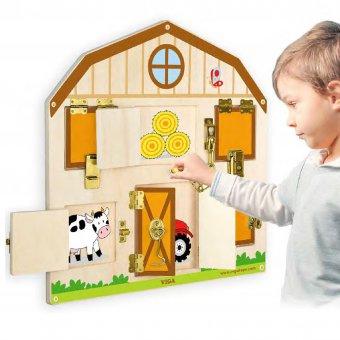 Viga Drewniana Motoryczna Tablica Manipulacyjna Zamki 6 zamków Farma Edukacja Drzwi Otwórz i Zamknij