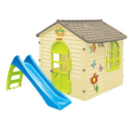 Domek Ogrodowy Dla Dzieci + Zjeżdżalnia 90cm Mochtoys