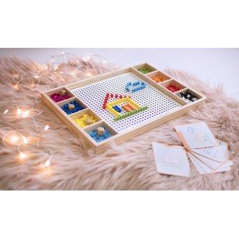 Ludo Chińczyk i Drewniana Układanka Gra 2w1 Mozaika Viga Toys