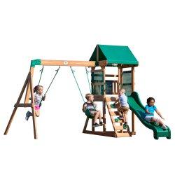 Drewniany plac zabaw Step 2 5w1 zjeżdżalnia piaskownica Backyard Discovery