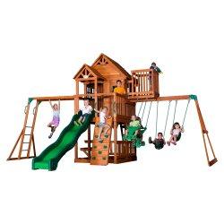 Duży Drewniany Plac Zabaw Skyfort II 9w1 Punkt Widokowy Ściana Wspinaczkowa Backyard Discovery