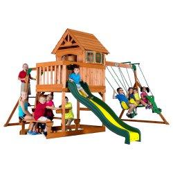 Duży drewniany plac zabaw Step 2 Springboro 7w1 zjeżdzalnia huśtawka Backyard Discovery