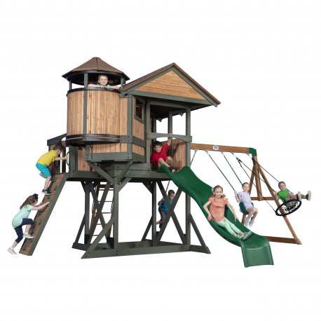 Duży drewniany plac zabaw Step 2 Eagles Nest Elite 7w1 zjeżdzalnia piaskownica Backyard Discovery