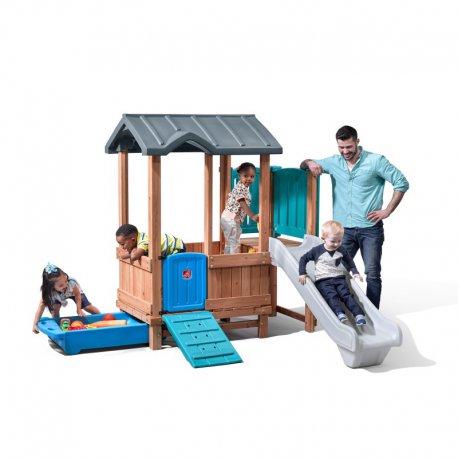 Plac zabaw Adventure drewniany domek Zjeżdżalnia piaskownica