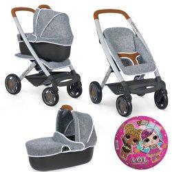 Smoby Wózek 3 w 1 Spacerówka Gondola Maxi Cosi Filcowy dla Lalek
