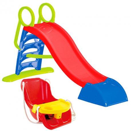 Duża Zjeżdżalnia XXL 180 cm z Natryskiem Wodnym + Huśtawka Krzesło ze Stoliczkiem