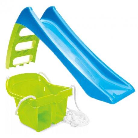 Zjeżdżalnia Ogrodowa dla dzieci ze ślizgiem wodnym Fun Slide 116 cm Niebieska + Huśtawka Kubełkowa Bezpieczna Zielona