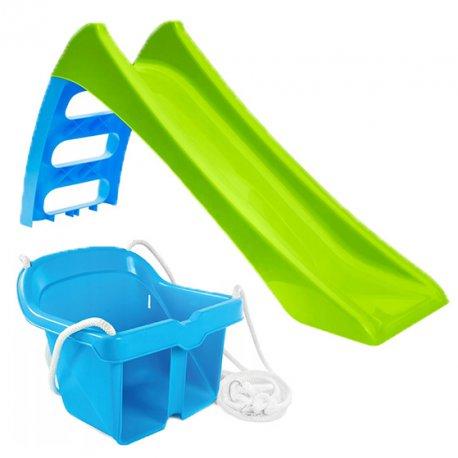 Zjeżdżalnia Ogrodowa dla dzieci ze ślizgiem wodnym Fun Slide 116 cm Zielona + Huśtawka Kubełkowa Bezpieczna Niebieska