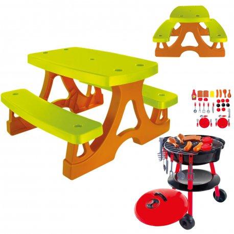 Stolik z Ławkami Piknikowy + Grill Dla Dzieci Ogrodowy z 25 Akcesoriami Mochtoys