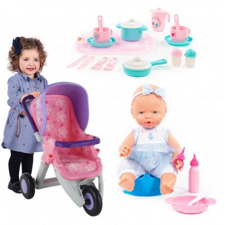 """Zestaw naczyń z tacą + wózek fioletowy dla lalek + """"wysoły"""" bobas z akcesoriami Wader QT Polesie"""