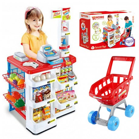 WOOPIE Luksusowy Supermarket z Wózkiem Waga Kasa Skaner + akc