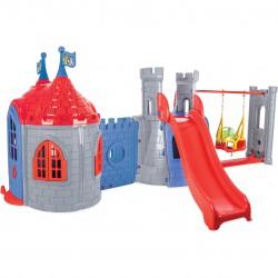 WOOPIE Plac Zabaw 3w1 Zamek Zjeżdżalnia Huśtawka Domek