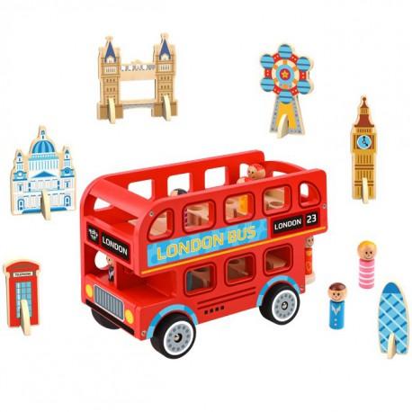TOOKY TOY Drewniana Zabawka Autobus London Bus