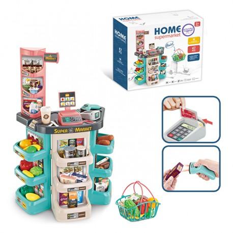 WOOPIE Supermarket Koszyk Na Zakupy Skaner Kasa Waga + 47 Akcesoriów
