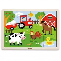VIGA Drewniane Puzzle Farma 16 elementów
