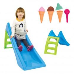 WOOPIE Zestaw Ogrodowy Zjeżdżalnia dla dzieci ze Ślizgiem Wodnym Fun Slide 116 cm Niebieska + MOCHTOYS Foremki Lody do Piasku